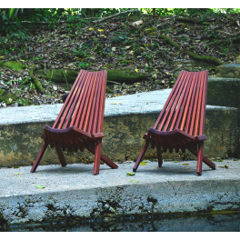 Set of 2, Mahogany Clam Chairs