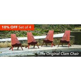 Mahogany Clam Chairs- Set of 4
