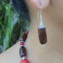 Cuboid Rosewood Burl Earring