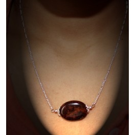 Rosewood Burl Necklace with  Citrine Tear Drops and Amazonite Beads
