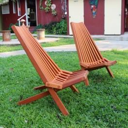 Set of 2, Mahogany Clam Chairs